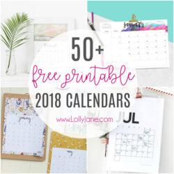 2018 free printable calendars