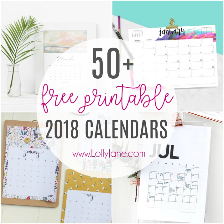 graphic about Printable Calendars Free known as 2018 free of charge printable calendars - Lolly Jane