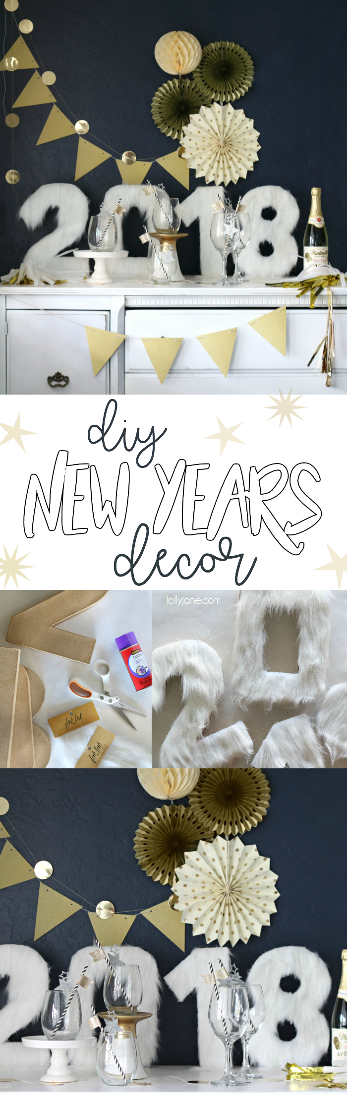Easy and cute DIY Fur Numbers to make your NYE party glam! Use as a centerpiece, on a display or as a props in a photo booth!