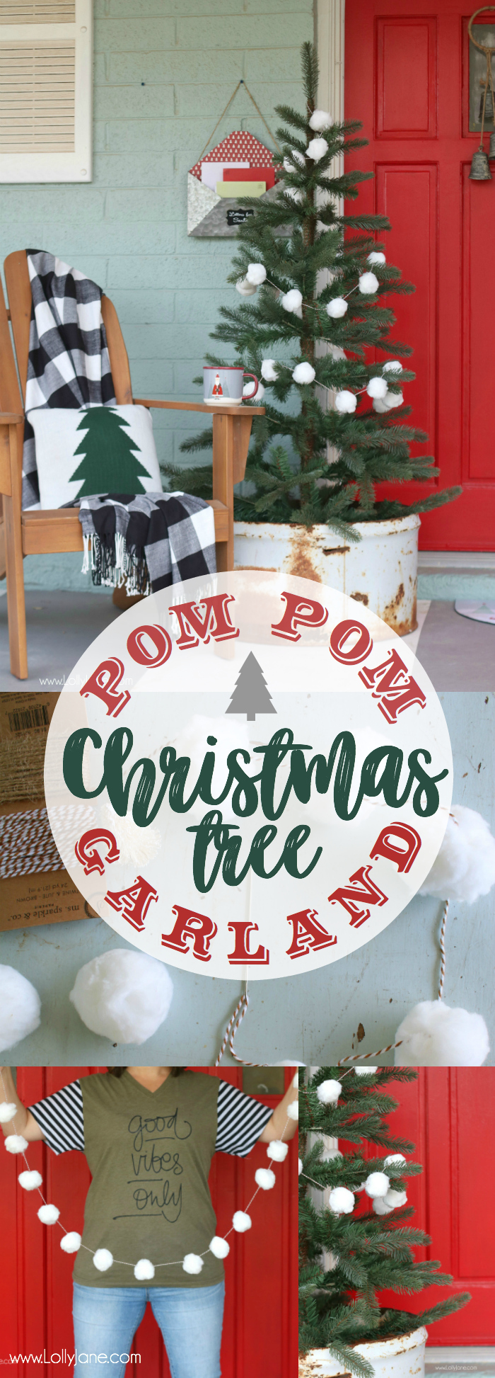 White Pom Pom Christmas Tree Garland Tutorial