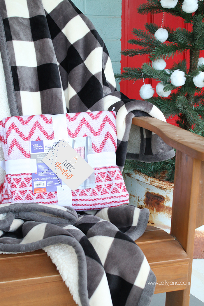 "Better Homes & Gardens Throw and Fleece, such a cute gift with this ""FLEECE NAVIDAD"" free printable tag!"