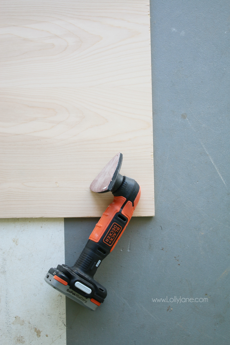 Black and Decker sander, a piece of the 4 set GoPak. Super easy to make a diy wood sign with this easy to use tool!