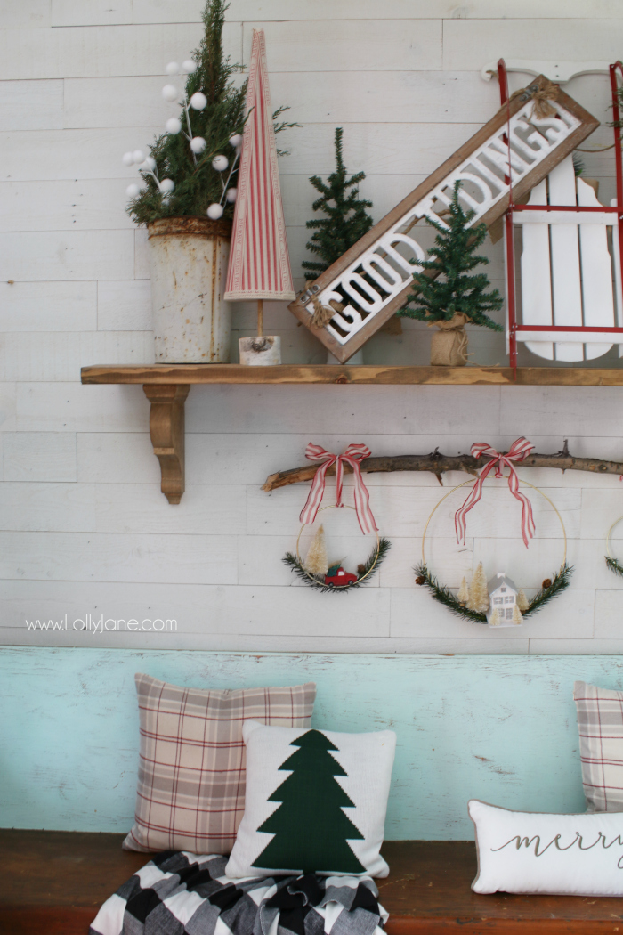 loving this christmas mantel sled sign decor such a fun farmhouse christmas mantel mix