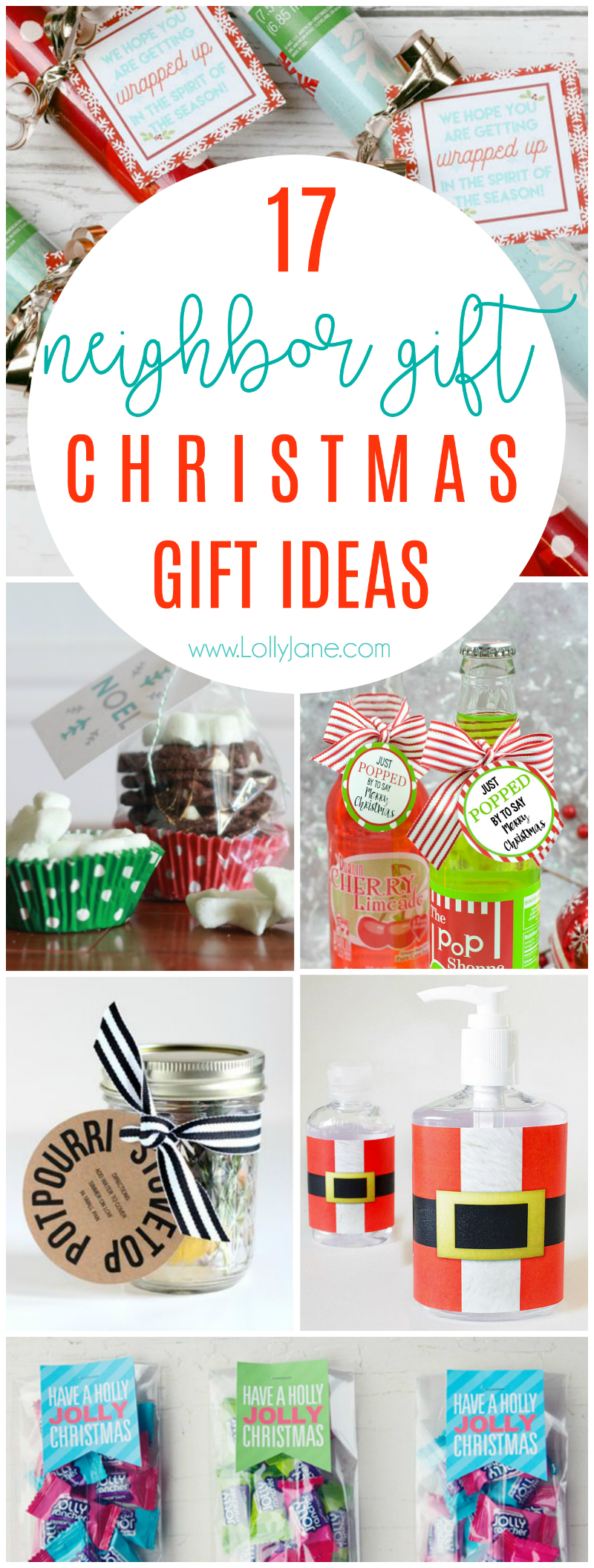 17 Christmas neighbor gift ideas! Love these affordable neighbor ideas, lots of free printable neighbor gift tags!