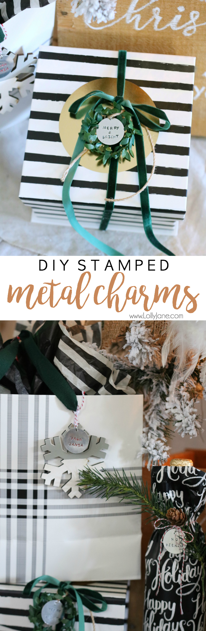 Easy and cute DIY Stamped Metal Charms, cute to add onto a holiday gift or as jewelry!