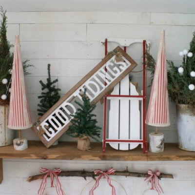 DIY Christmas mantel sled sign trees decor ideas
