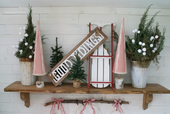 Christmas Mantel Ideas.Diy Christmas Mantel Sled Sign Trees Decor Ideas Lolly Jane