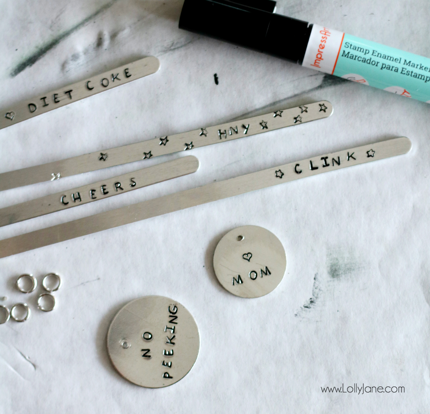 Cutest metal stamped charms, wine tags, and more! Super easy to make in no time at all!