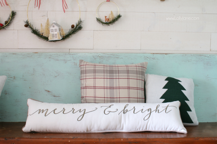 Love this Merry and Bright Christmas pillow from JoAnn's craft store, such a cute lumbar Christmas pillow. This merry & bright pillow looks so cute on a Christmas bench!