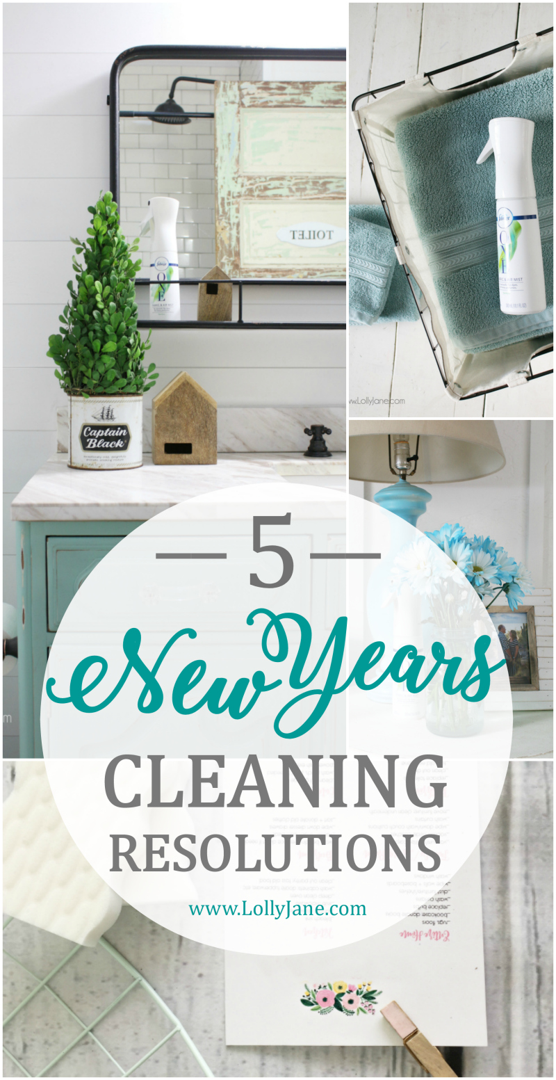 5 New Years cleaning resolutions tips to keep your house in order for the new year! Love these easy to follow cleaning tips for a clean house all year long!