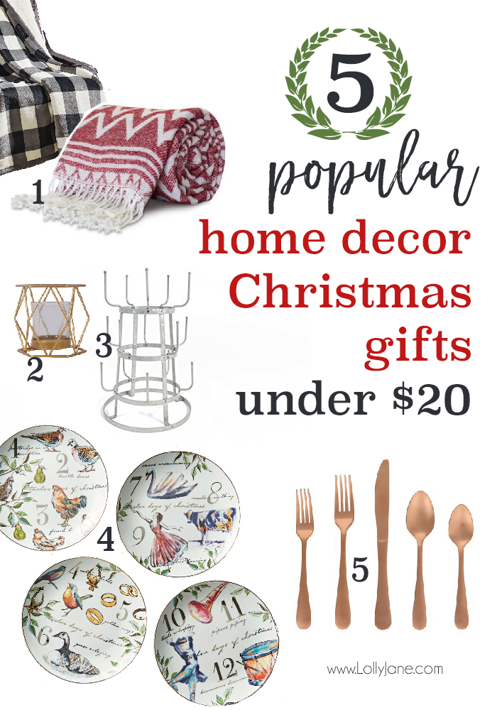 5 Popular Home Decor Christmas Gifts for Under $20! From throws to flatware, these are the hottest trends of 2017 to get your loved ones!