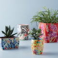Anthro Sisters Gulassa Floral Pots are so darn cute! Love the colorful floral pots for pretty year round decorating!