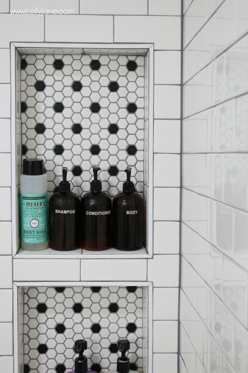 love the honeycomb tile shelf inset with the subway tile shower such a pretty farmhouse