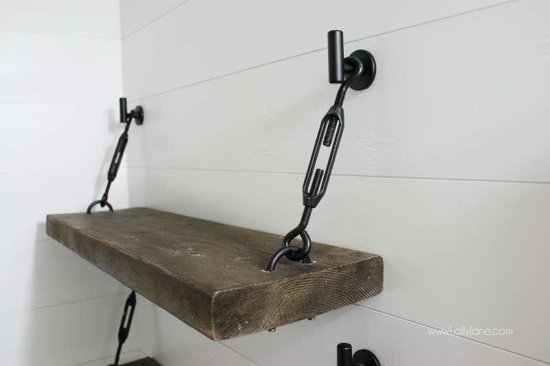 Love these bathroom shelves with turnbuckle hardware! Such a pretty farmhouse shelf, great for any room in the house!