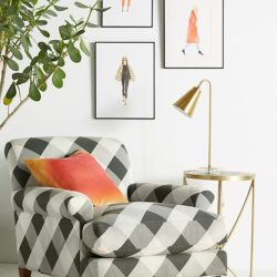 Buffalo check armchair, swoon! LOVE this darling buffalo check chair from Anthro!