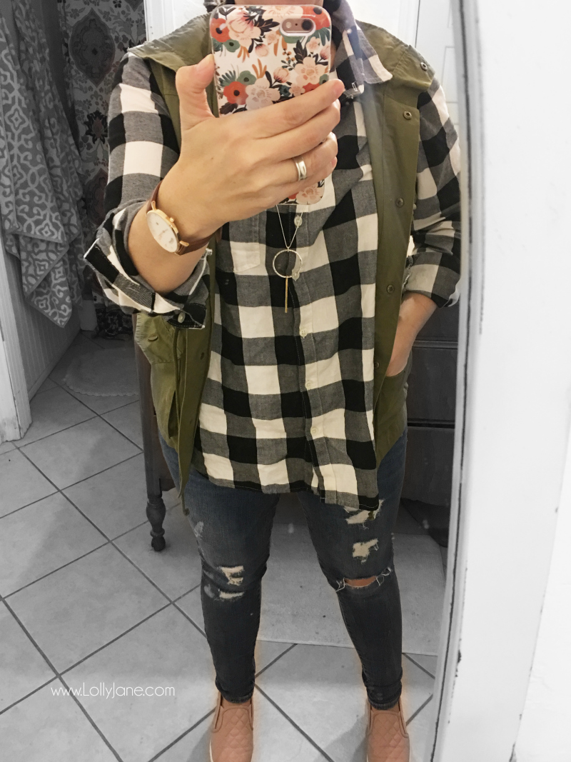 Darling buffalo check top with trendy olive green vest, such cute womens clothing!