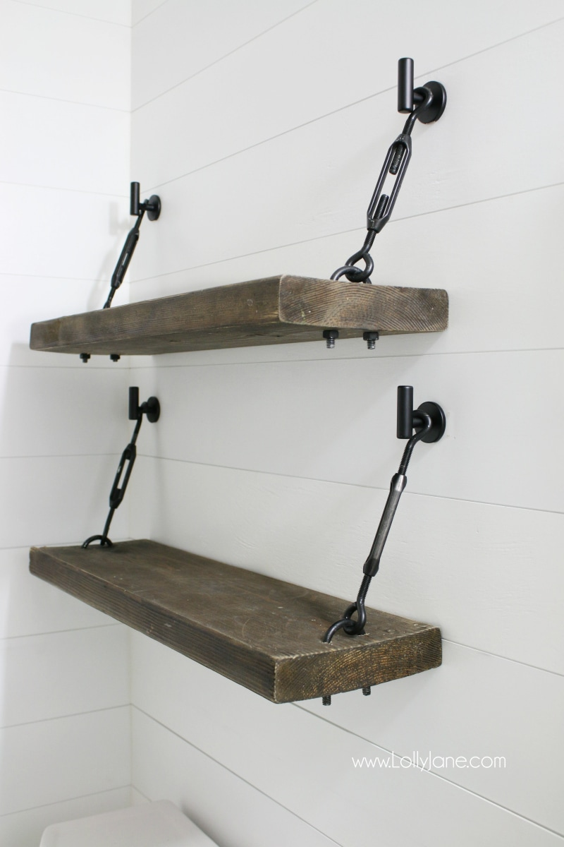 WOW! Check out these pretty diy turnbuckle shelves!! Tutorial for an easy diy turnbuckle hardware kit included! Adore this farmhouse bathroom shelves!