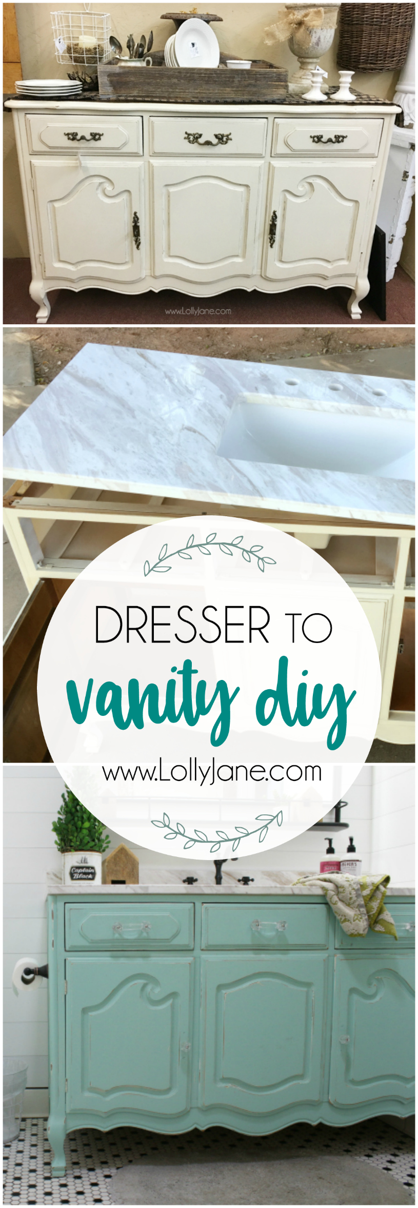 Loving this dresser to bathroom vanity tutorial, so fun to dress up a standard bathroom vanity!! Love this farmhouse bathroom remodel!