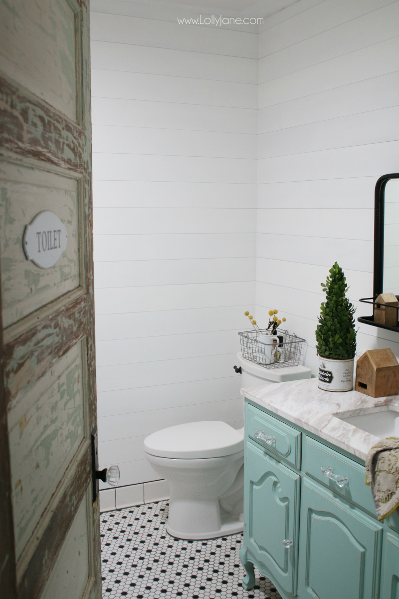 vintage dresser to bathroom vanity - Lolly Jane on Farmhouse Bathroom Ideas  id=22565