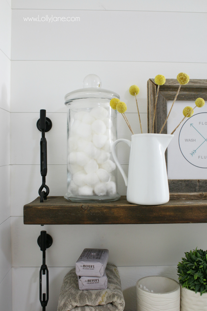 Pretty farmhouse shelf decor ideas! Grab the how-to for these pretty turnbuckle shelves!
