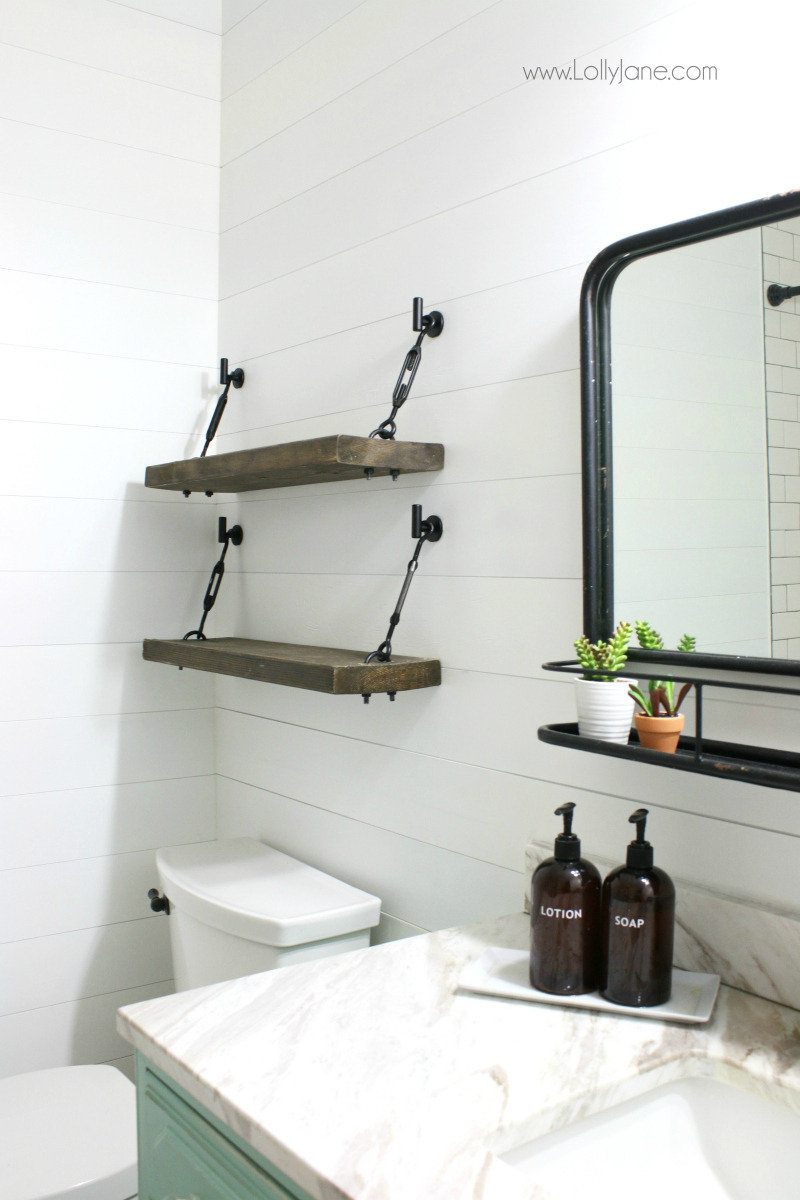 oving these farmhouse bathroom shelf ideas! Click through for the easy how to on building the gorgeous turnbuckle hardware!