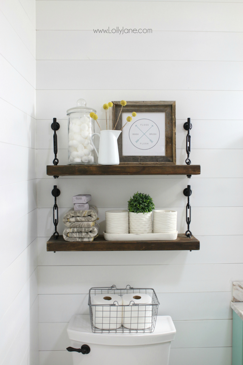 Loving these farmhouse bathroom turnbuckle shelves! Such an easy tutorial to create these turnbuckle shelves, less than $40 for 2 complete shelves!