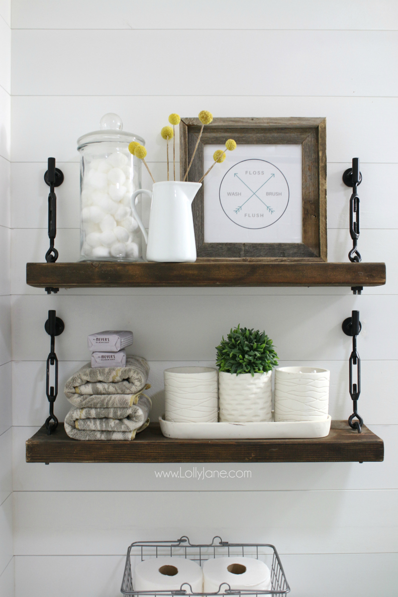 Farmhouse shelf tutorial: learn to make these turnbuckle hardware shelves! Love this pretty farmhouse shelf decor styling too!