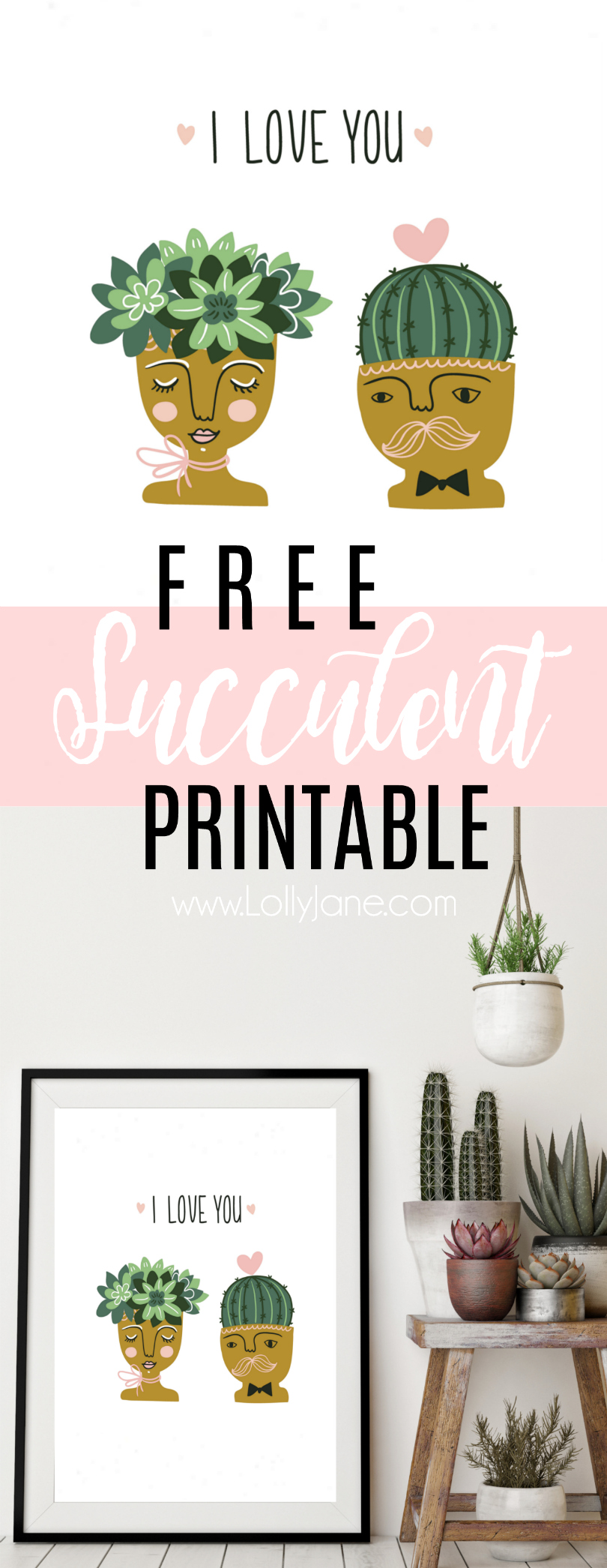 Such a cute FREE printable!! Adore this fun succulent printable! Fun I love you digital download. Love this succulent printable home decor!!