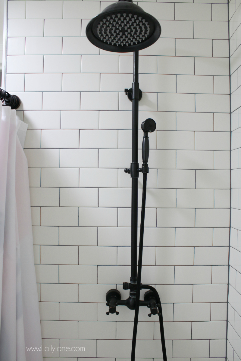 Loving this luxury shower faucet farmhouse bathroom accessories! Such a pretty modern farmhouse bathroom remodel!