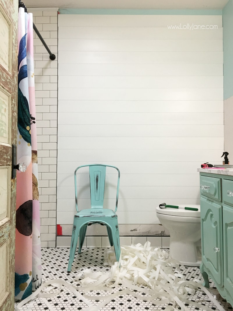 How to install Plankwise peel and stick shiplap! Super easy wall treatment idea, just cut shiplap to size then press to wall. Love this easy farmhouse bathroom remodel!