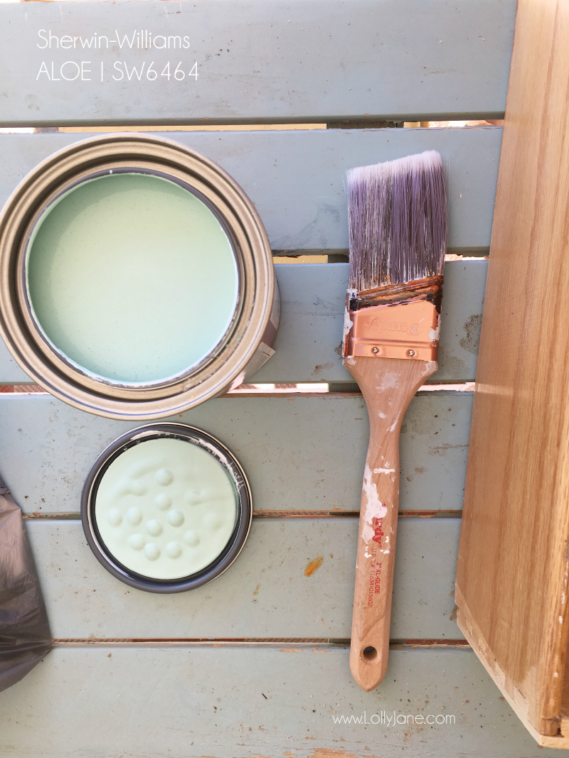 Sherwin Williams Aloe painted dresser to vanity tutorial. Love this pretty green blue color for a bathroom vanity in this farmhouse bathroom remodel!