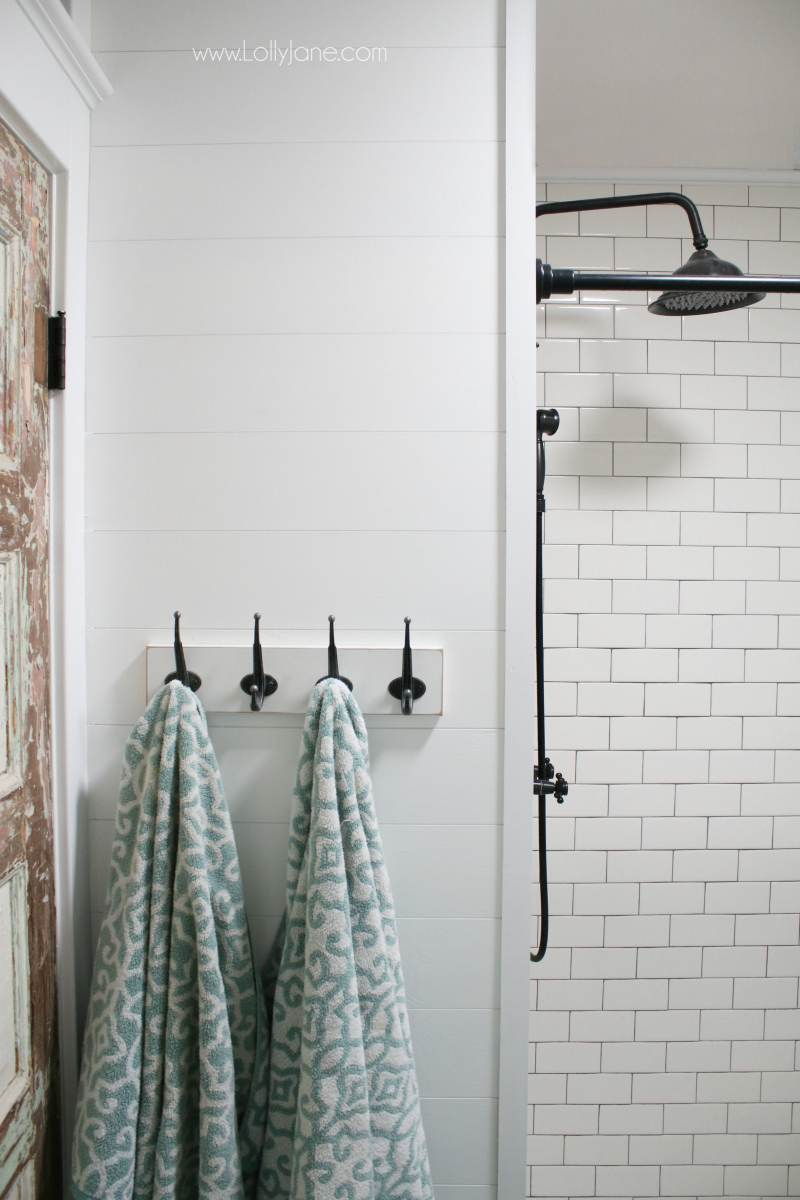 Love this subway tile shower remodel! Classic white subway tile with gray grout for a timeless look!