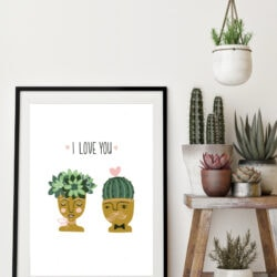 I love you succulent free printable, so cute!