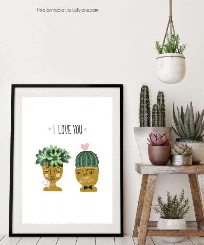 What a fun succulent free printable! Adore this I love you succulent free digital download, cute free printable!