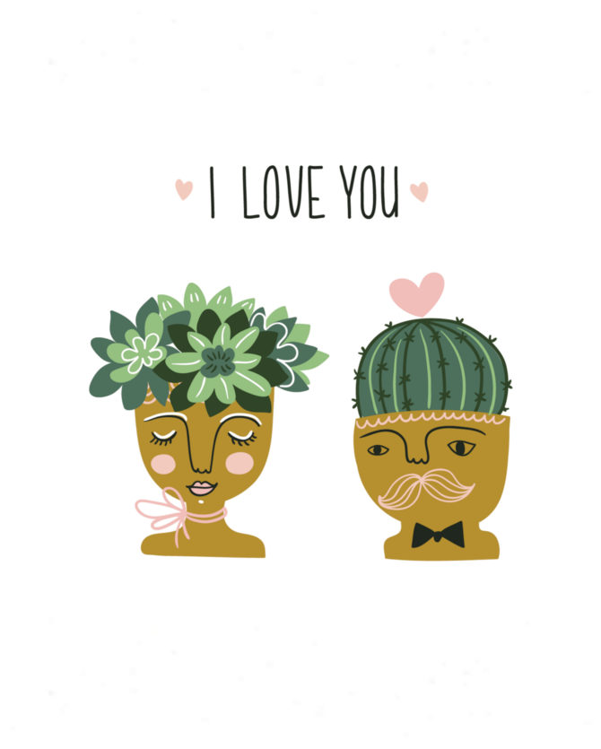Such a fun succulent I love you free printable! Love this darling succulent free digital download!