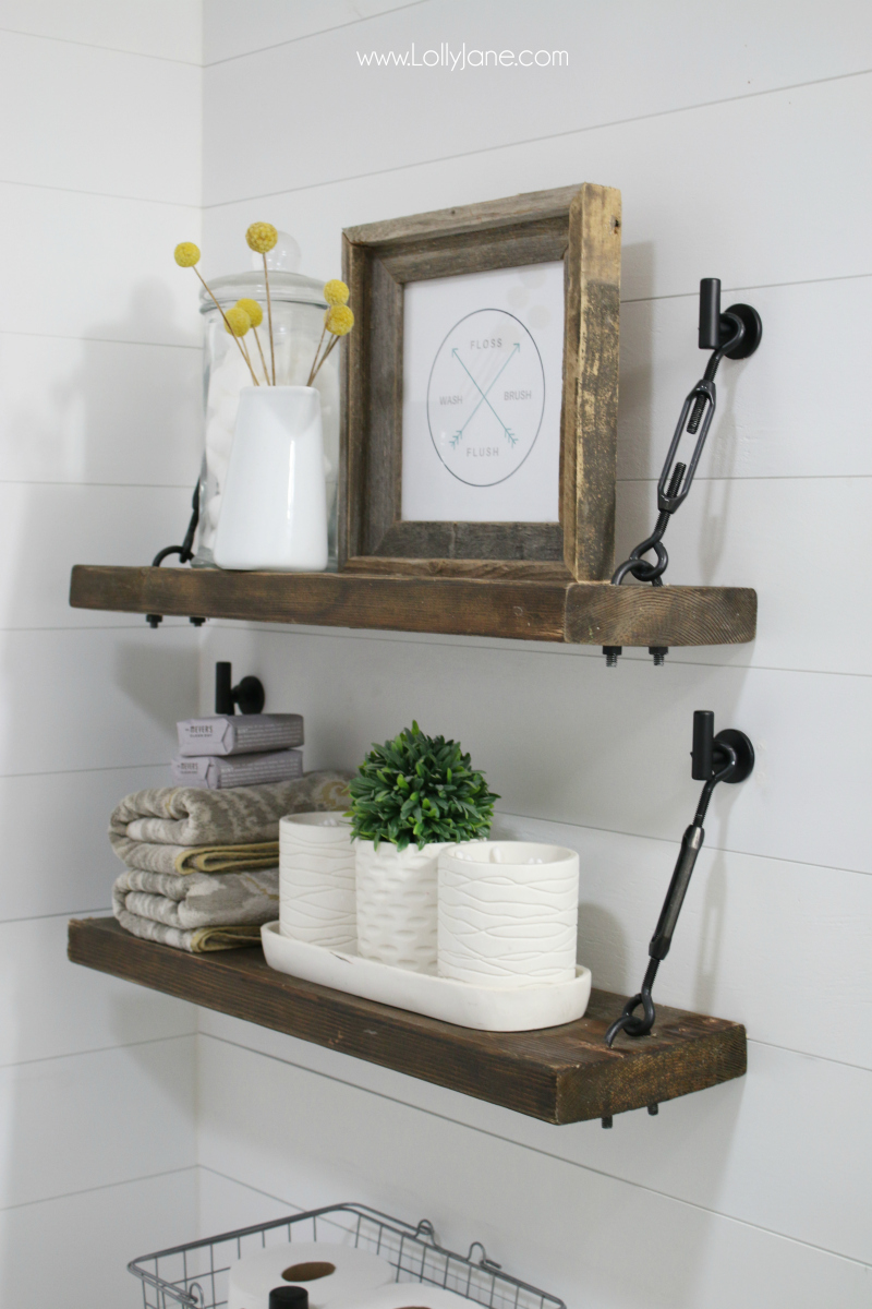 Loving this turnbuckle shelf tutorial! Such a pretty farmhouse shelf with pretty turnbuckle hardware!