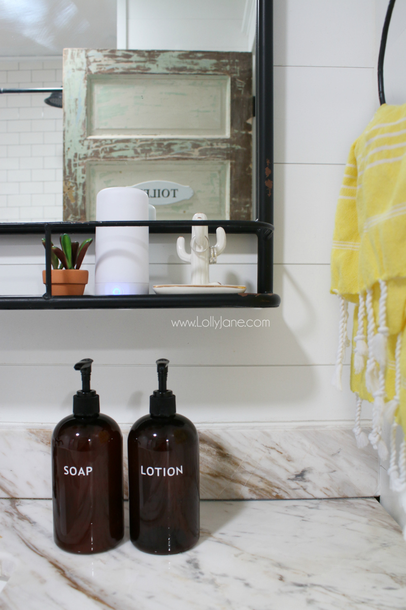 Loving this farmhouse bathroom makevoer! Keep it fresh with the AirMoji, a luxury fragrance that lasts 50 hours with one pod.