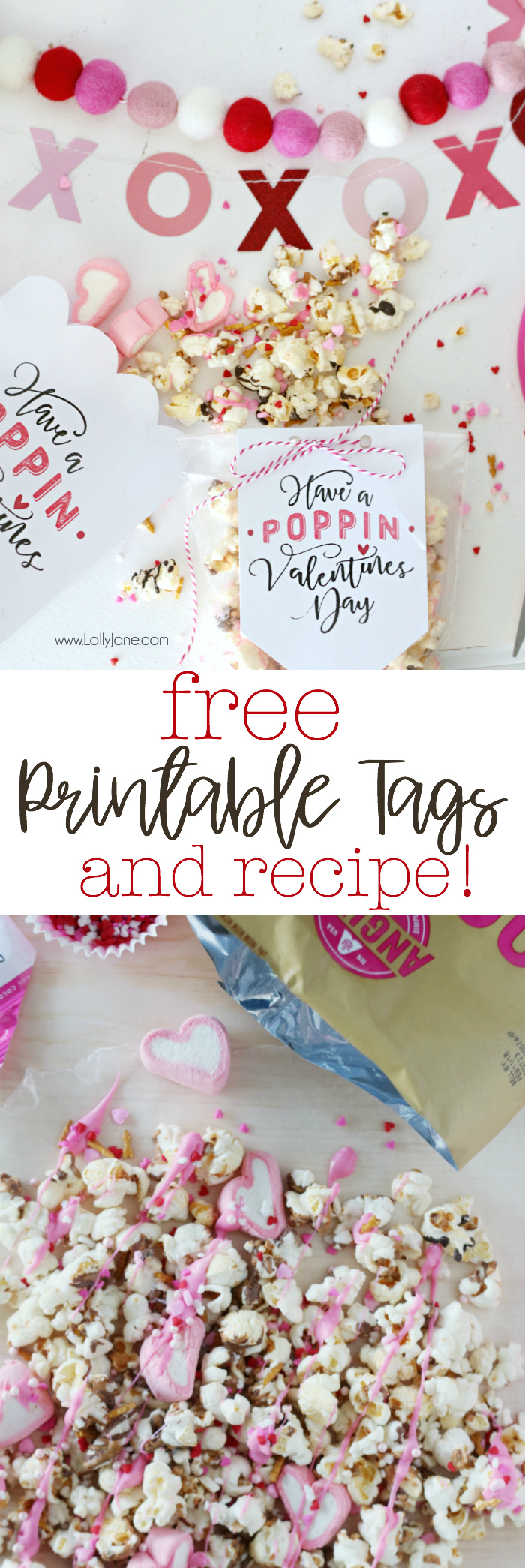 "Free Printable ""Have a Poppin' Valentine's Day"" tags and yummy (EASY!) recipe!"