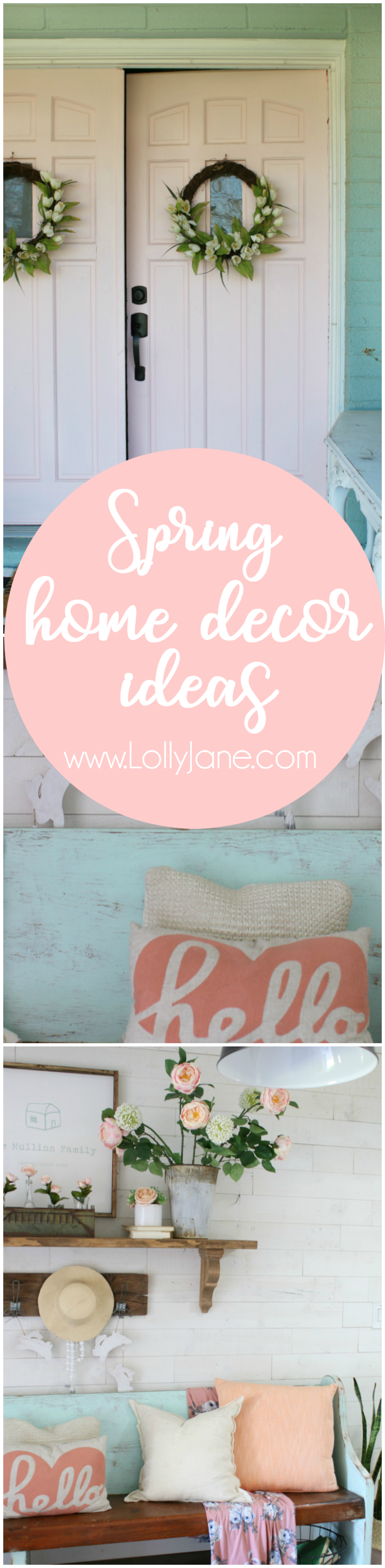 Visit our spring home tour ideas! I love our painted pink doors and had fun adding faux flowers to create a spring mantel using items around my home!