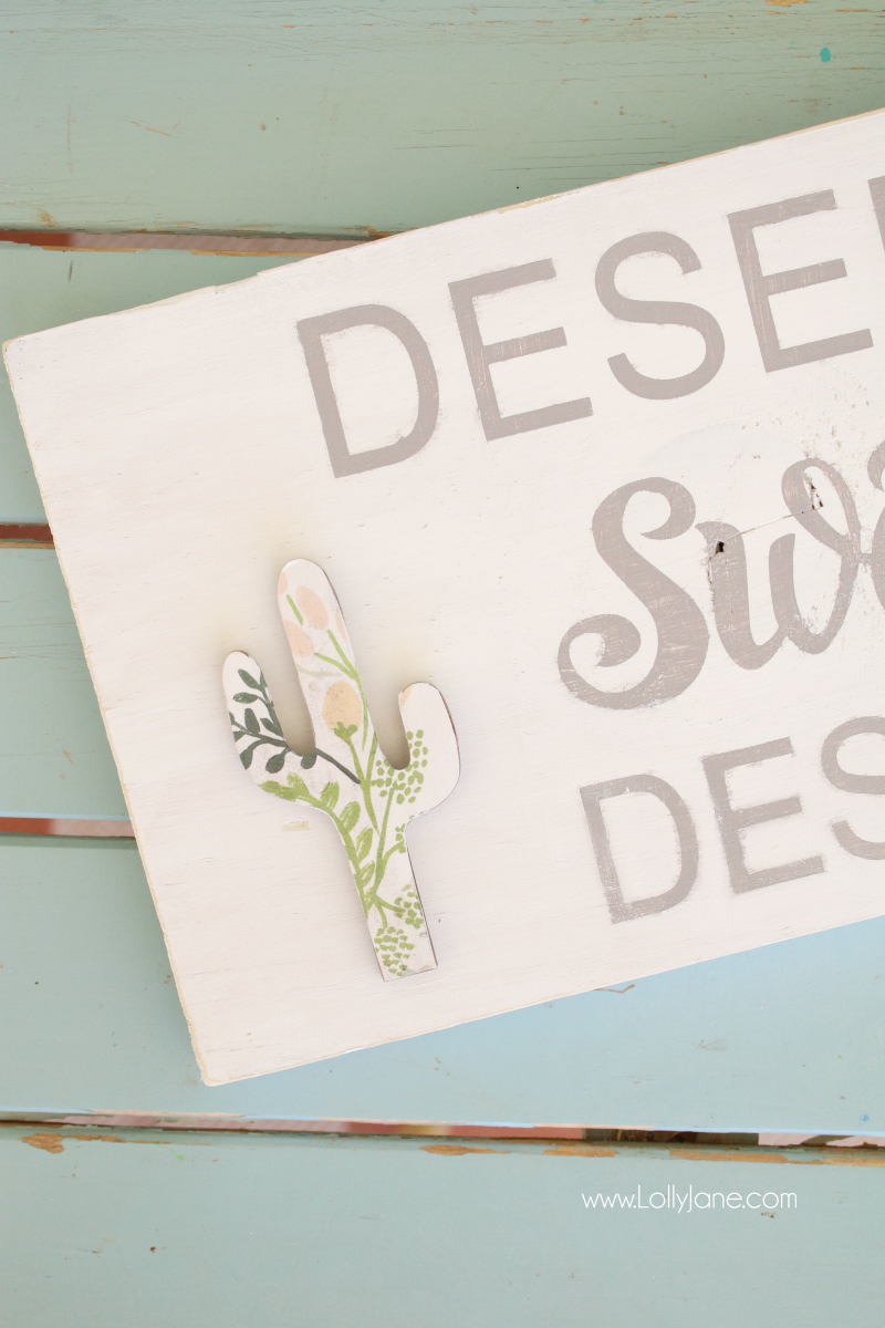 Loving this Arizona home decor cactus floral wood sign tutorial! Such a cute desert sign with a love for AZ signs!