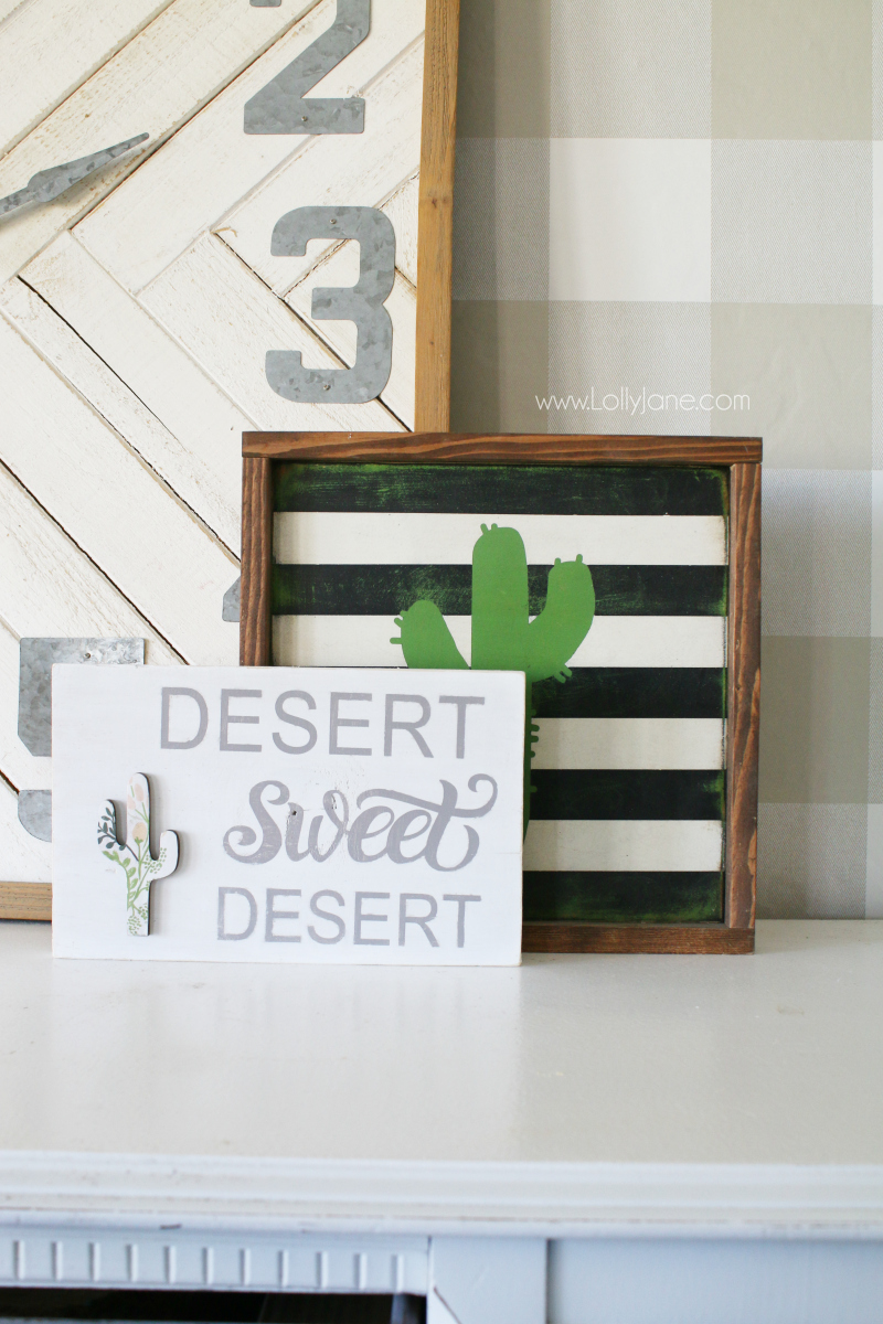 Loving this Arizona home sweet home wood sign with a twist of desert sweet desert. The added floral cactus cutout from Lolly Jane is too cute!