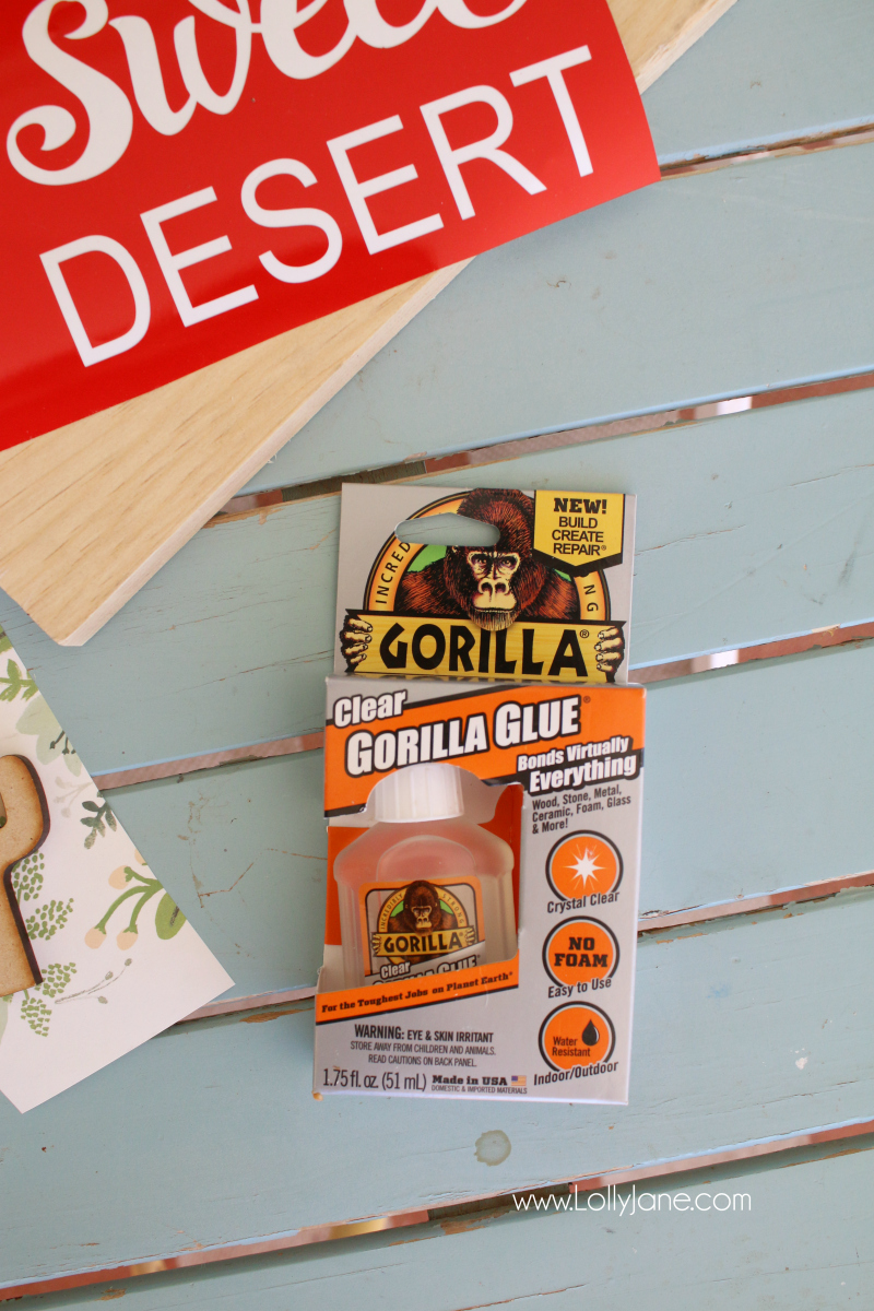 Meet our secret weapon for small projects: clear Gorilla Glue! Fast drying and a tough bond, it's perfect for little crafts and projects like our wood sign tutorial!