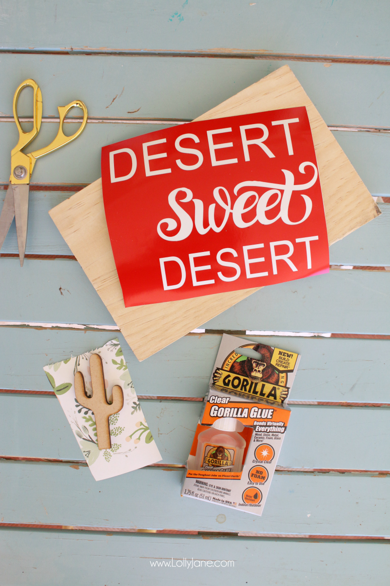 Learn to make a cute wood sign. Grab these desert sweet desert cactus wood sign supplies to quickly make your own wood cutout sign!