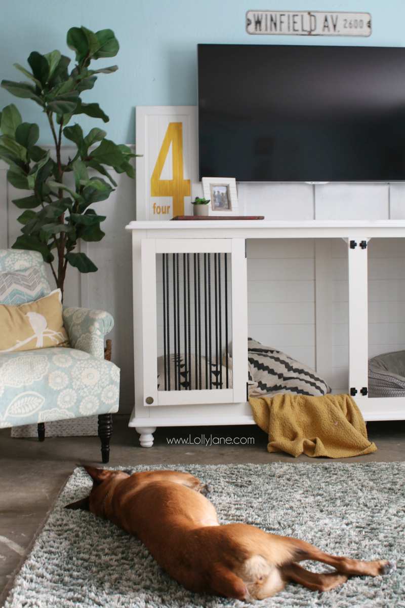 Love this dog kennel furniture! Shut the barn doors to keep your dog secure or let them out and still have an attractive piece of furniture. Love this tv stand dog kennel!