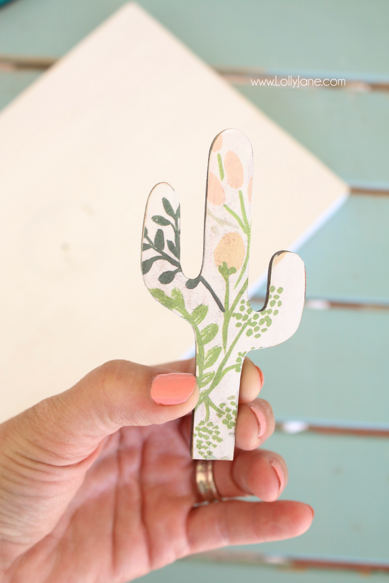 Loving this floral wood cactus cutout with decoupage using Gorilla Glue! So easy to create this pretty boho home decor!