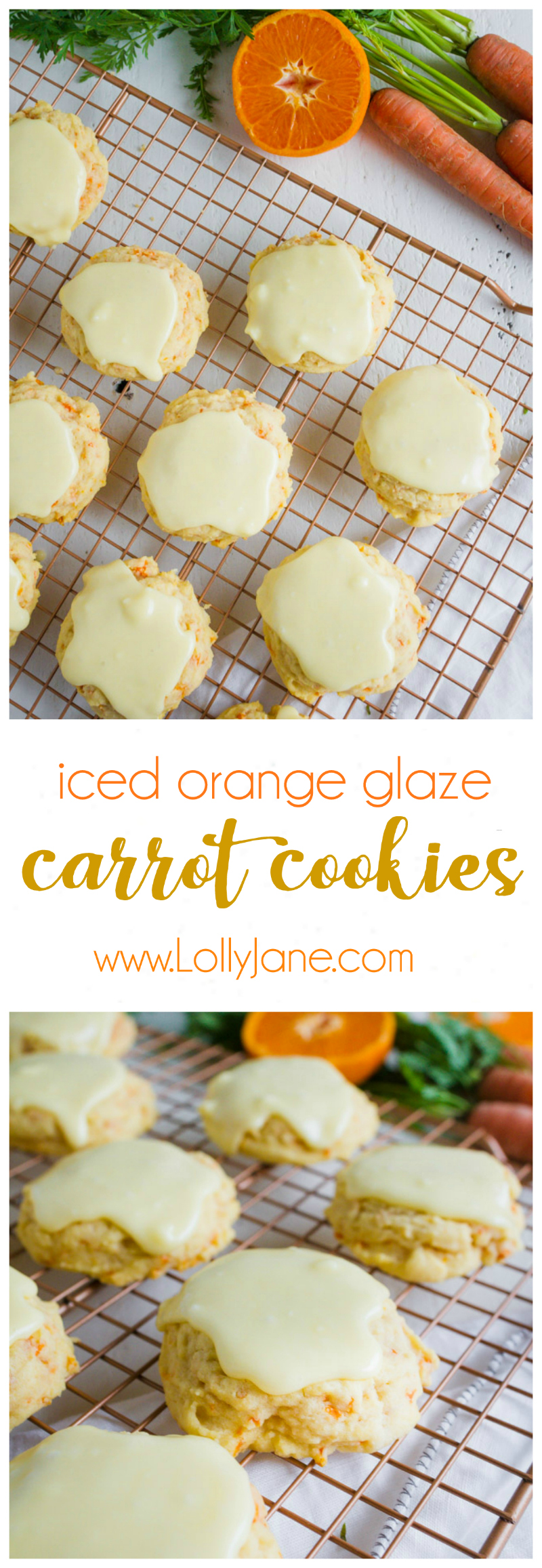 iced carrot cookies recipe - Our favorite iced orange glaze carrot cookies recipe, yum! You will love this super easy cake like carrot cookies recipe, the orange glaze icing is sooo zesty and fresh, mm!