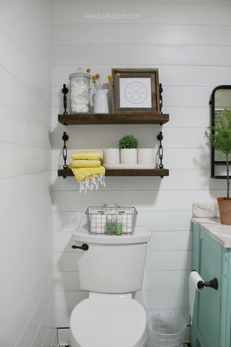 I love decorating my bathroom shelving! These DIY turnbuckle shelves are so fun to style! Our secret to keeping the bathroom smelling fresh? Our favorite MojiLife linen spray bathroom fragrance is long lasting and fresh smelling!