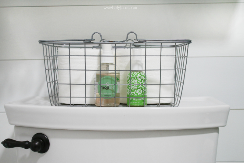This farmhouse bathroom remodel is so fun. Our secret weapon to keeping a fresh smelling bathroom is our MojiLoo bathroom toilet spray, just a few sprays to keep your bathroom experience fresh and clean!