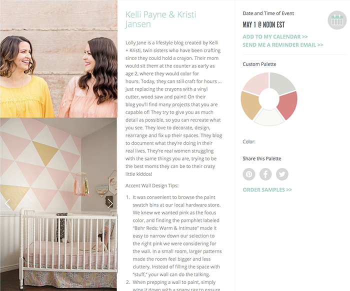 Behr color clinic blogger designers | Love Lolly Jane's custom paint palette with its pink, white, mustard and soft gray tones.