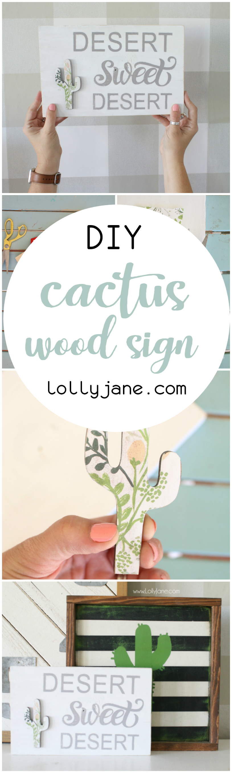 Uhm, LOVING this cute floral cactus wood sign!! Such a cute Arizona home sweet home twist with the western desert sweet desert! Love all of Lolly Jane's signs! Cute wood sign tutorial that is super easy to make!